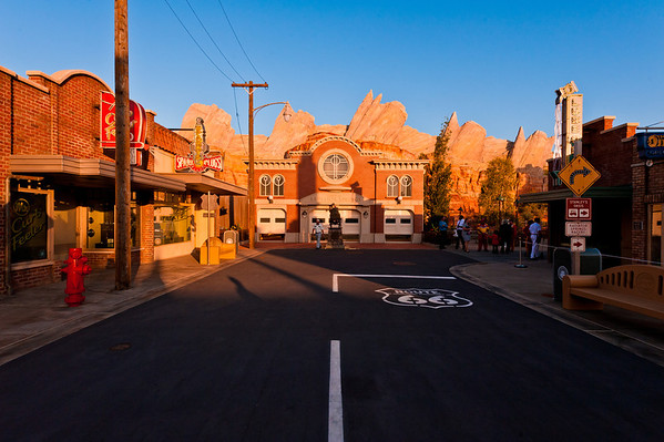 Sunset on Cars Land in Disney California Adventure. See more Cars Land photos by Tom Bricker: http://www.disneytouristblog.com/cars-land-photos/