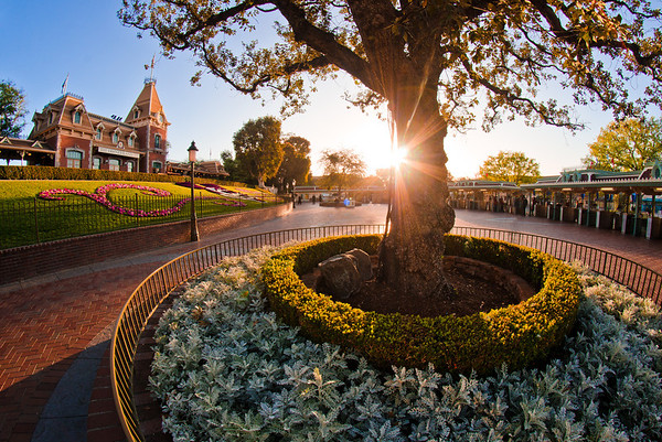 Sunrise over the Disneyland Main Street, USA Train Station at the end of