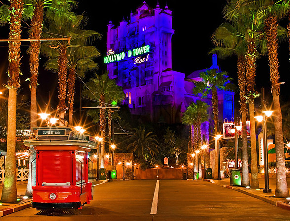 The Twilight Zone Tower of Terror looms at the end of Sunset Boulevard in Disney's Hollywood Studios. Here's another eerie Tower of Terror photo: http://www.disneytouristblog.com/hollywood-tower-hotel-night-photo/