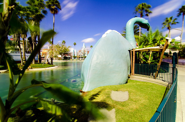Notice the streaking clouds and moving palms? This is a 23-second photo of Gertie the Dinosaur, made possible with a neutral density filter. More about ND filters: http://www.disneytouristblog.com/neutral-density-filter-reviews-buying-guide/