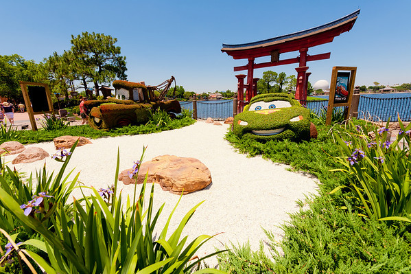 It's ridiculous that these Cars topiaries are placed in World Showcase's Japan during Epcot's Flower & Garden Festival.More Flower & Garden info: http://www.disneytouristblog.com/epcot-flower-garden-festival-photos/