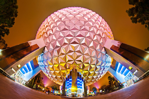 Walt Disney World ResortEpcotSpaceship EarthThe grand and miraculous Spaceship Earth as captured with a fisheye lens after the guests had left Epcot. More on Epcot: http://www.disneytouristblog.com/tag/epcot/