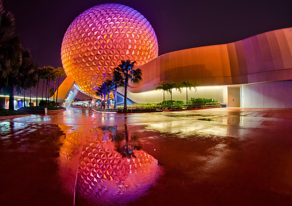 Spaceship Earth at Epcot after the rain...I love post-rain reflections! This was one of my top 12 photos of 2012 on my blog! http://www.disneytouristblog.com/top-12-disney-photos-of-2012/