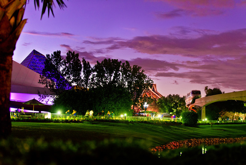 Walt Disney World EPCOT Center Future World  A monorail passes Journey into Imagination and The Land on Epcot's 30th anniversary during the blue hour/dusk.