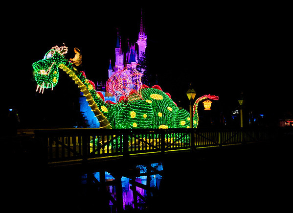 Pete and his dragon, Elliott, in the Main Street Electrical Parade! For more MSEP photos, visit: http://www.disneytouristblog.com/main-street-electrical-parade-disney-world-photos/
