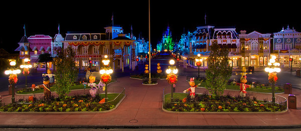 Walt Disney WorldMagic KingdomMickey's Not So Scary Halloween PartyClosing time falls over the Creepy Kingdom at the end of the Halloween Party. Read More: www.disneytouristblog.com/the-monsters-are-due-on-main-street-panorama/