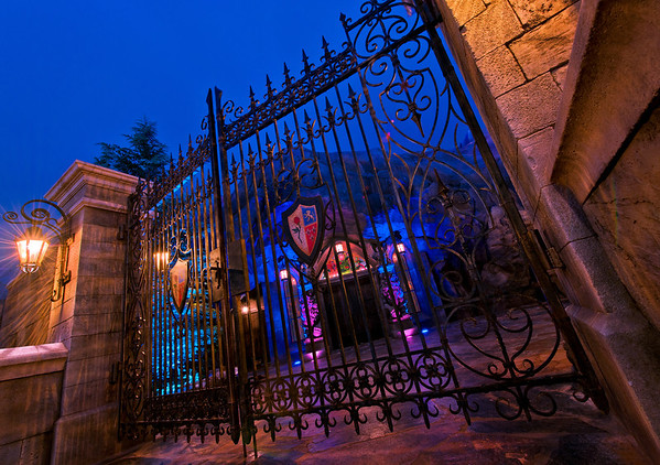 The closed gates of Be Our Guest Restaurant in Walt Disney World's New Fantasyland.