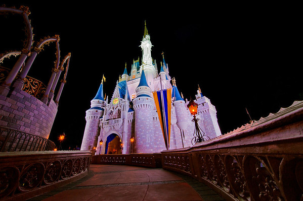Ultra wide angle photo of Cinderella Castle shot with the Nikon 14-24mm f/2.8 lens. Lens review: http://www.disneytouristblog.com/nikon-14-24mm-f2-8-lens-review/
