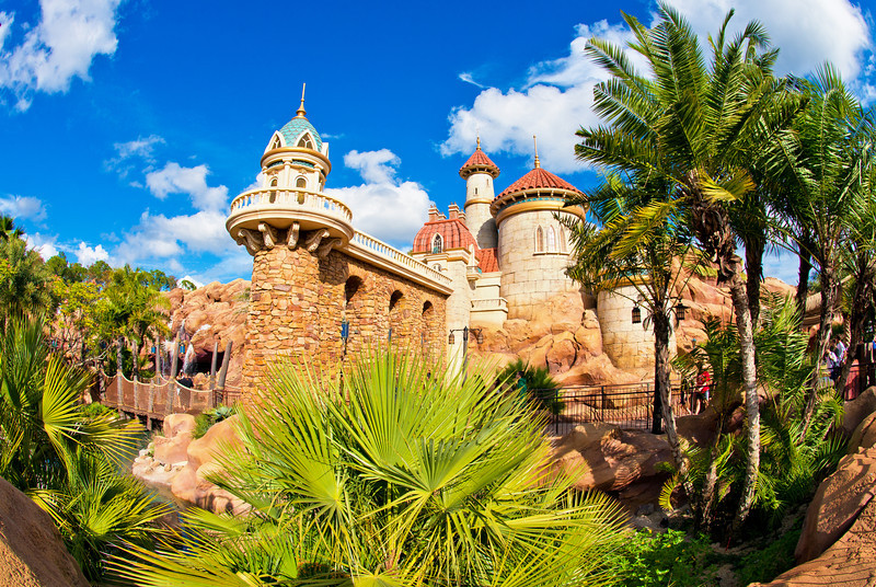 The exterior queue of The Little Mermaid - Ariels Undersea Adventure in Walt Disney World's Magic Kingdom winds past Prince Eric's Castle!