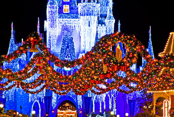 Walt Disney World ResortMagic KingdomCinderella Castle Icicle Dream LightsAt Christmas, the always-beautiful Cinderella Castle becomes even more beautiful with these