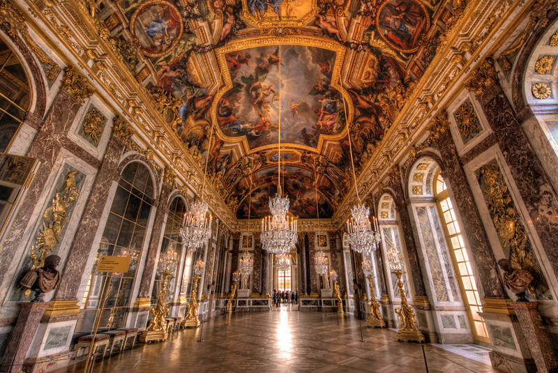 The Hall of Mirrors is the most famous room in the opulent Palace of Versailles (or the Château de Versailles) in the Île-de-France region of France.Read more: https://www.travelcaffeine.com/versailles-hall-of-mirrors-hdr/