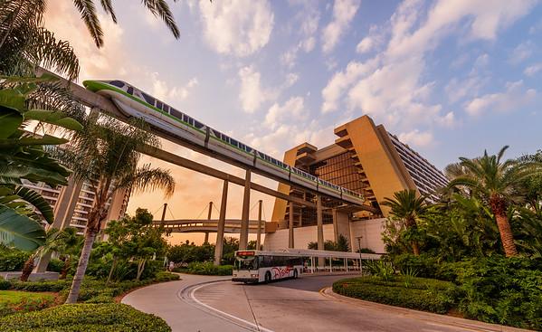 monorail contemporary resort disney world sunrise M