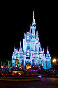 Walt Disney World Resort Magic Kingdom Cinderella Castle Icicle Dream Lights  Is there any more beautiful sight in the world than Cinderella Castle with its Dream Lights all lit up and the Partners statue in front of it?  More information, tips, and planning information for Christmas at Walt Disney World: http://www.disneytouristblog.com/disney-world-christmas-ultimate-guide/