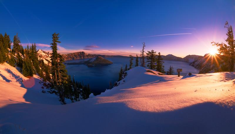 Snowy Sunrise at Crater Lake National Park - Travel Caffeine